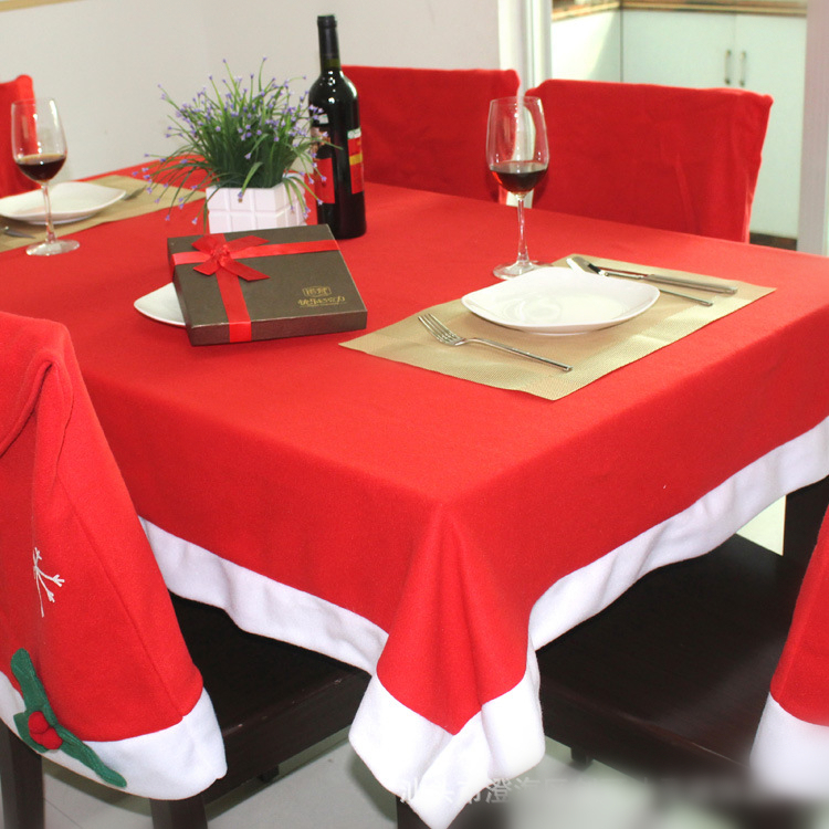 NiceRug Red And White Pull Flannel Christmas Table Cloth Environmental  Antependium(China)