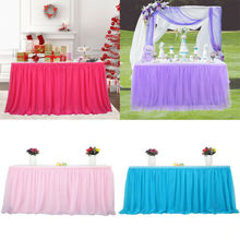 2019 Newest Solid Color Reusable Tutu Tulle Table Skirt Tablecloth for Party Wedding Home Decoration New