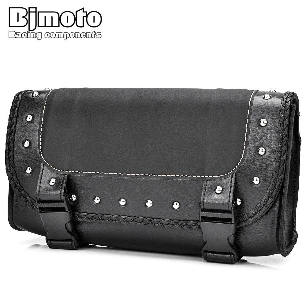 цена на BJMOTO Universal Motorcycle Saddle Bag Luggage PU Leather Motocross Saddlebag Storage For Harley Honda Yamaha Motorbikes