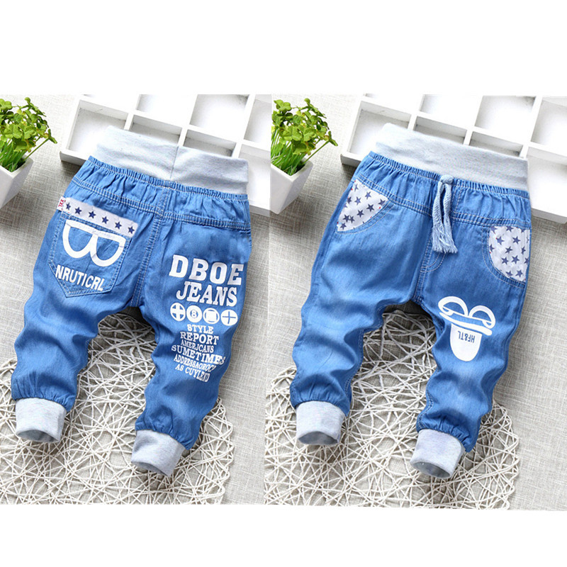 Hot Sale Baby Boys Jeans Elastic Waist Denim Cropped Pants Cartoon Glasses Casual Soft Kids Clothing 2-5Y 2018 Summer New Jeans