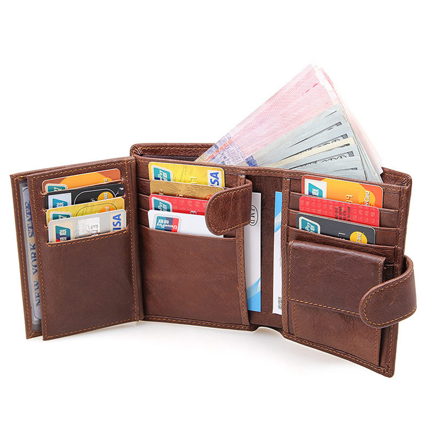 2017 Fashion Genuine Leather RFID Wallets Trifold Wallet ID Card holder Coin Purse Pockets Clutch with zipper Men Wallet mens wallets black cowhide real genuine leather wallet bifold clutch coin short purse pouch id card dollar holder for gift