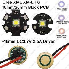 2pcs CREE XML XM-L T6 Cool White 6500K Neutral White 5000K Warm White 3000K LED Emitter 16mm/ 20mm PCB + DC3.7V 2.5A 16mm Driver