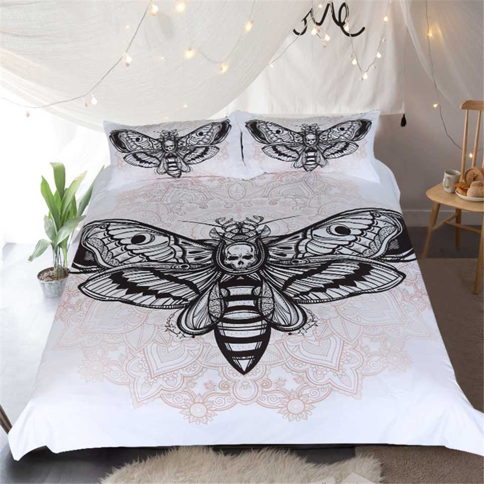 LISM Moth pattern Bedding Set Twin Queen King Size White background Duvet Cover Bohemian Printed Bed Cover 3 PcsLISM Moth pattern Bedding Set Twin Queen King Size White background Duvet Cover Bohemian Printed Bed Cover 3 Pcs