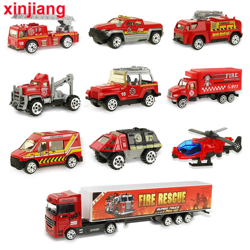 Truk Api Besar & 10 Pcs Mini Diecast Model Mobil Helikopter Truk Kontainer Kombinasi Mainan Kendaraan Hadiah untuk Anak-anak Anak Laki-laki}