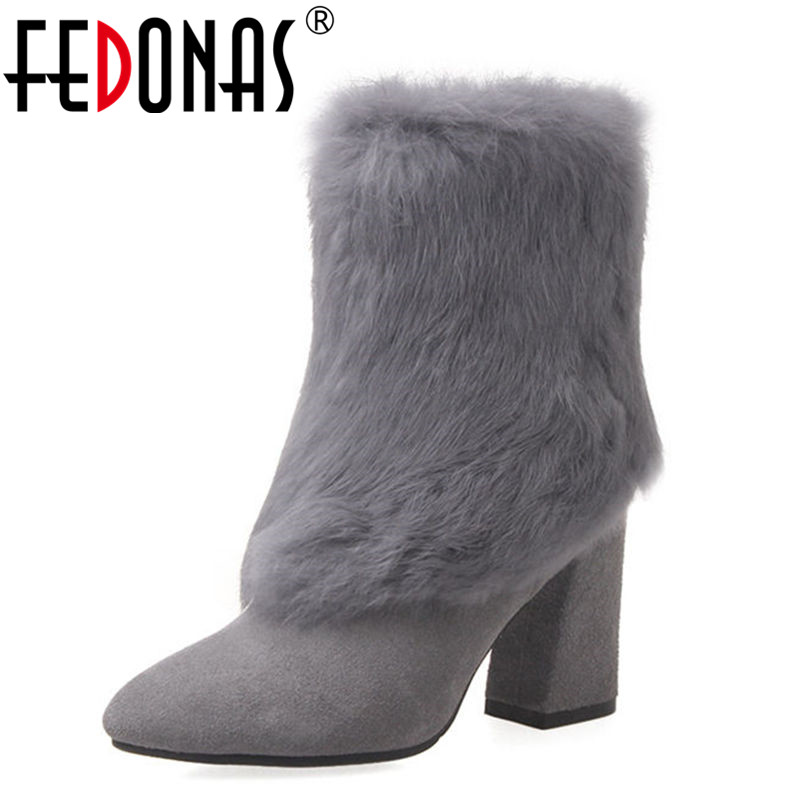 FEDONAS Top Quality Women Thick Rabbit Fur Plush Genuine Leather Shoes Woman Winter Ankle Boots Women Casual Warm Snow Boots muhuisen winter men genuine leather shoes fashion casual plush warm boots lace up flats male snow boots fur inside comfort