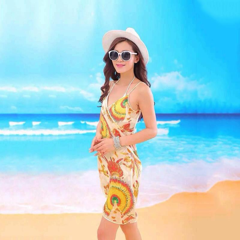 Women Beach Dress Swimwear Sexy Sling Beach Wear Dress Sarong Bikini Cover-ups Wrap Pareo Skirts Towel Flower Open-Back Swimsuit 15