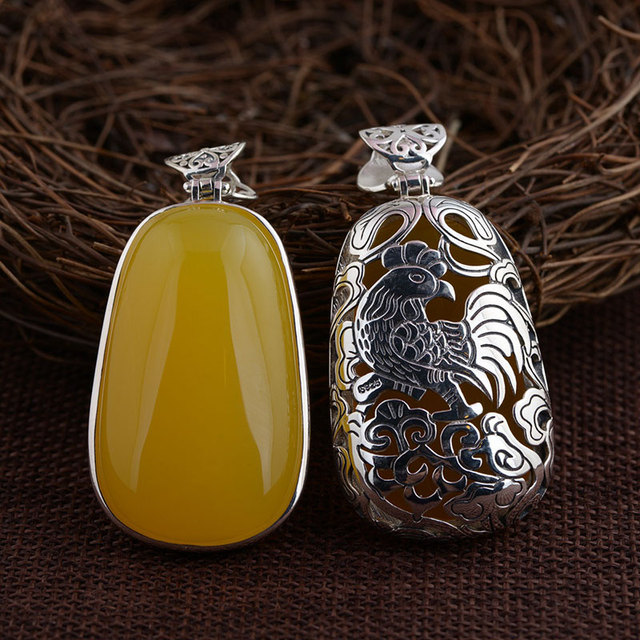 GZ 925 Silver Zodiac Pendant 100% Pure S925 Solid Thai Silver Natural Chalcedony Monkey OX Pendants for Women Men Jewelry Making