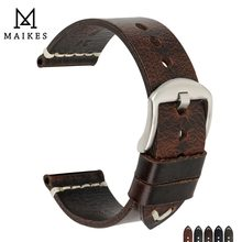 MAIKES Genuine Leather Watchband 20mm 22mm 24mm Watch Accessories Watch Straps Vintage Bracelet Watch Band For CITIZEN Watch(China)