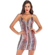 new winter sequin dress sexy color striped strap red purple Slim club party