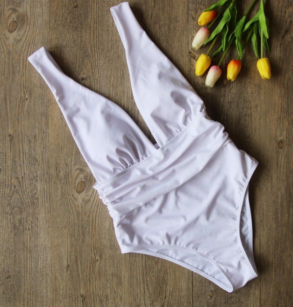 MANYIE Hot New Black White Red One Piece Swimwear Backless Bathing Suit Padded Deep V Monokini Swimsuit Bandage Bodysuit Biquini