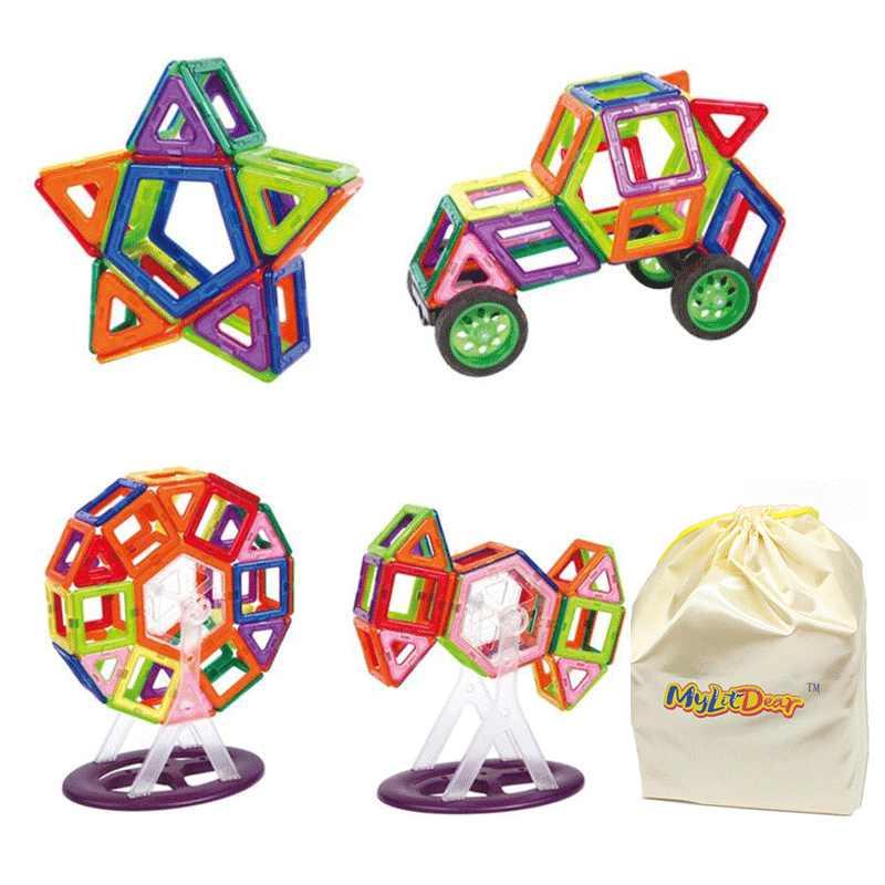 97 ชิ้น DIY อาคารแม่เหล็กชุดของเล่น Mini Magic แม่เหล็กดึง Enlighten รุ่นเพื่อนอาคารอิฐของเล่นสำหรับเด็กของขวัญ