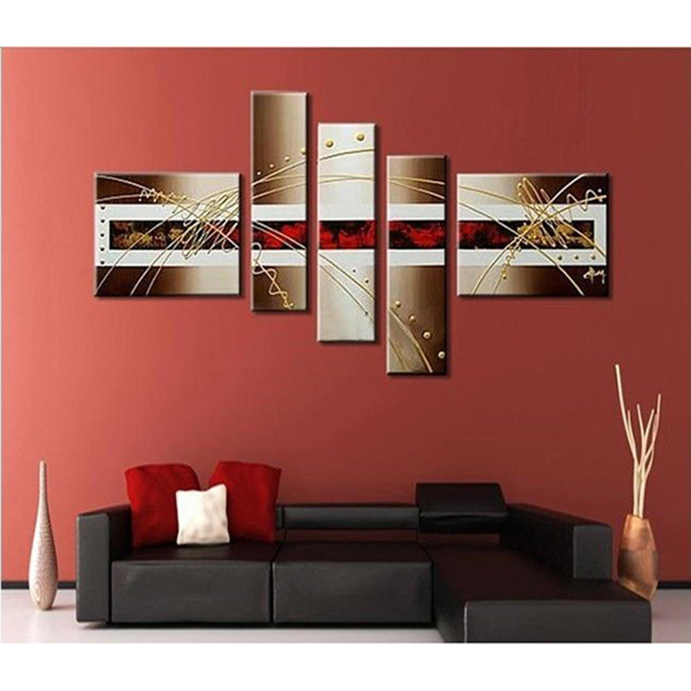 Unframded 5pcs Set 100 Hand Paint Oil Painting On Canvas Modern Abstract Gold And Red Wall Art Home Room Decoration
