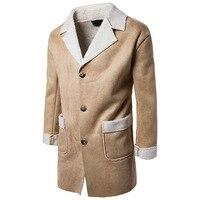 Long Jacket Men 2018 Men Thermal Fur Collar Casual Single Breasted Trench Winter Coat Long Men Solid Khaki Suede Jackets for Men