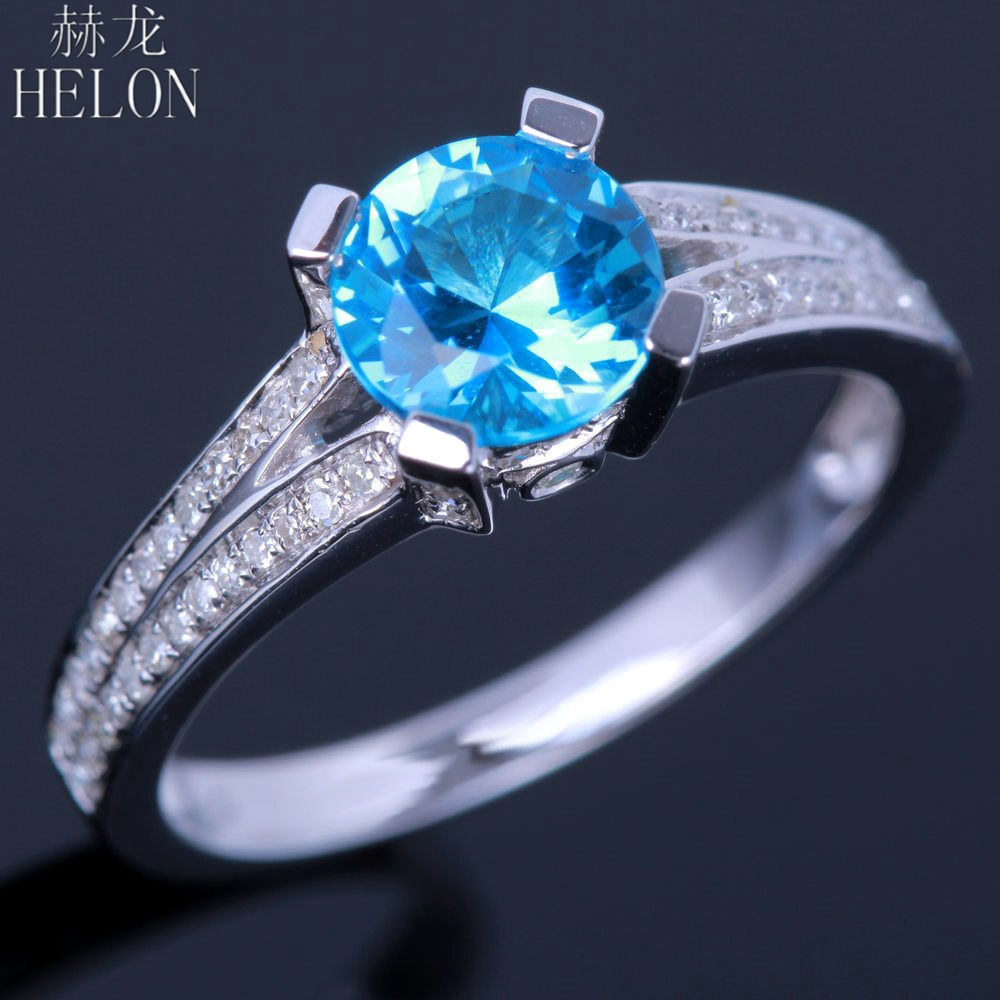 HELON Flawless 6.5mm Round 100% Genuine Natural blue topaz Diamond Ring Sterling Silver 925 Engagement Wedding Fine Jewelry Ring helon sterling silver 925 flawless 11x9mm emerald cut 4 36ct real blue topaz natural diamond engagment wedding ring fine jewelry