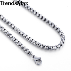 Men's Neckalce Stainless Steel Box Link Chain Necklaces Male Jewelry Gifts for Men Women Dropshipping Wholesale KKN479