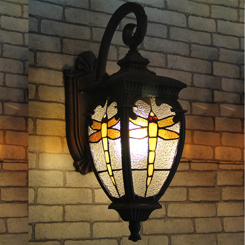 European Style Villa Gate Waterproof Outdoor Lamp Outdoor Courtyard Wall Lamp Dragonfly Iron Wall Lamp Outdoor Lamp Wall Lights