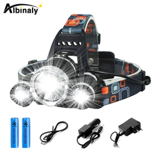 Super bright LED Headlamp 3 x T6 10000 lumens headlight 4 lighting modes headlamp fishing lamp adventure light+battery 30000 super bright led headlamp t6 4 xml xpe led headlight lumens fishing lamp 4 lighting modes camping lamp use 18650 battery