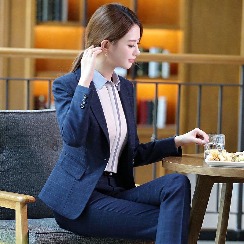 Women blazer suits 2/3/4 piece cotton work wear top plus size business casual female sets office lady formal costume navy blue