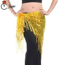 belly dancing scarf 16 Colors Practice Clothes Accessories Stretchy Long Tassel Triangle Belt Hand Crochet Belly Dance Hip Scarf