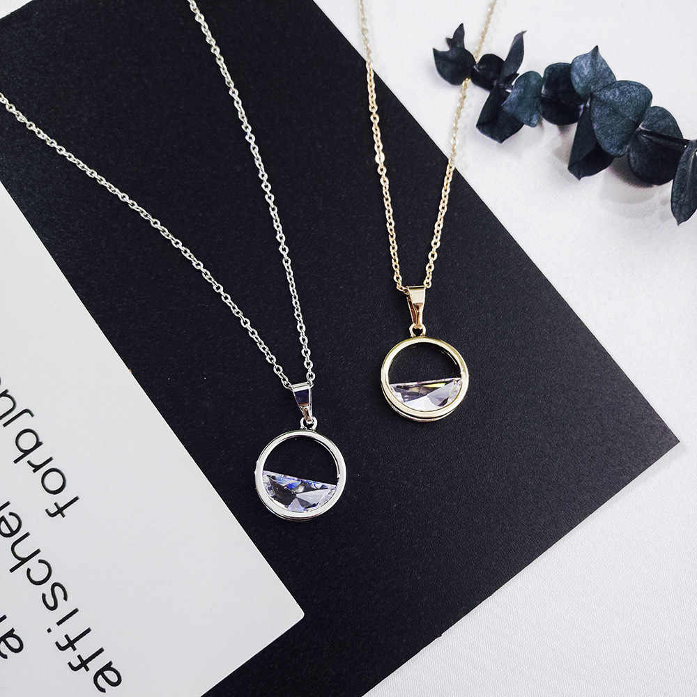 2018 Simple Chic Hollow Semicircular Pendant Necklace Round Crystal Zircon Collarbone Chain Women