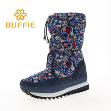 Snow boots flower upper mid culf height women female and lady style big size fake warm fur printing fabric free shipping good lo