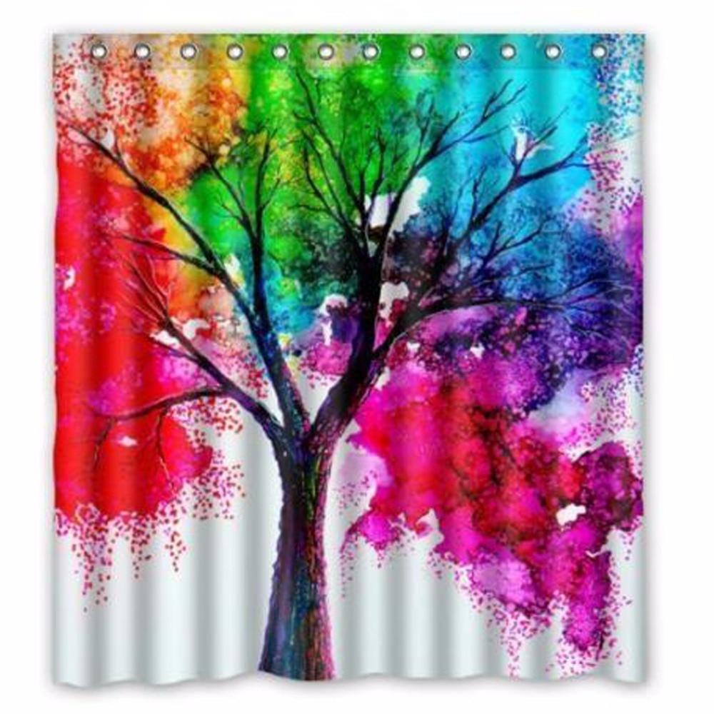 Waterproof Bathroom Fabric Shower Curtain, Watercolor Autumn Tree Art Colorful Rainbow Tree Four Season Print Design 66 x 72