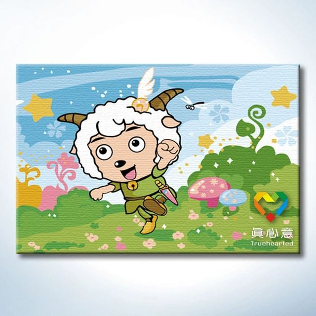 - cherry diy digital oil painting cartoon painting sheep - 20 30cm