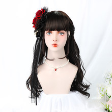24''Synthetic Black Cosplay Lolita Wig With Bangs Long Curly Costume Japan Harajuku Hair Cosplay Wigs For Women Heat Resistant(China)