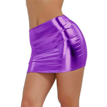 Women Solid Bare Imitation Pu Faux Leather Skirt Sexy Slim Buttocks Short Straight Mini Skirt 2019 Summer Night Club(China)