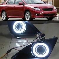 For Toyota COROLLA 2007 2010 A Set White Angel Eyes + Fog Lamp + Grille + Lens