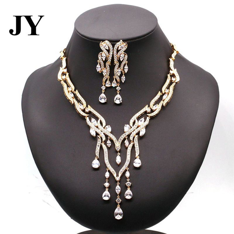 JY Luxury Gold Color White Zircon Jewelry Sets For Women Party Earrings Charm Necklace Vintage Cute Elegant Design