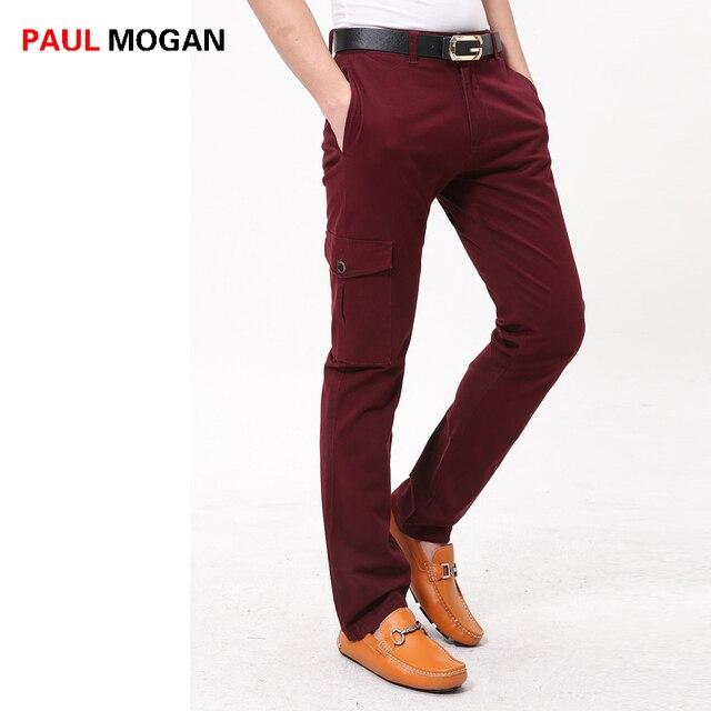 ebf5ec9cae Mogan Paul 2017 de los hombres pantalones de moda Casual de algodón rojo de vino  pantalones ...