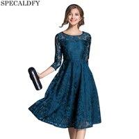 European Fashion Runway Dresses 2017 Women High Quality 3 4 Sleeve Blue Red Lace Dress Autumn