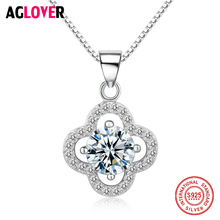 925 Sterling Silver Women`s Day Austrian Crystal Four Leaf Leaves Clover Heart Rhinestones Necklace Pendant Jewelry недорого