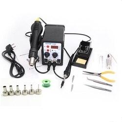 8586 2 In 1 ESD Heteluchtpistool Soldeerstation Lassen Soldeerbout Voor IC SMD Desolderen + Verwarming core + Tin draad + 6 stuks nozzles