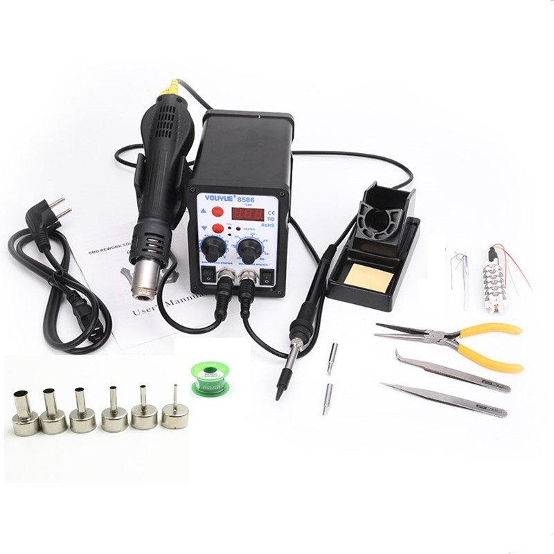 8586 2 In 1 ESD Hot Air Gun Soldering Station Welding Solder Iron For IC SMD Desoldering+Heating core+Tin wire+ 6pcs nozzles цена и фото