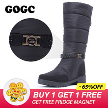 Купить с кэшбэком GOGC Waterproof Winter Boots Women Snowboots 2019 Warm Winter Shoes Women Big Size Comfortable Brand Women Boots Knee High Black