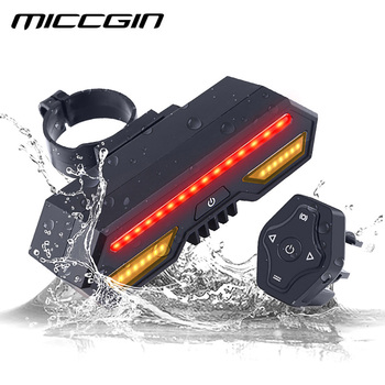 MICCGIN Велосипедный спорт беспроводной Дистанционное управление отложным воротником задний фонарь велосипед задний свет USB перезаряжаемые в...