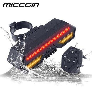 Miccgin 자전거 무선 원격 제어 턴 테일 라이트 자전거 후면 라이트 usb 충전식 방수 led 사이클링 액세서리