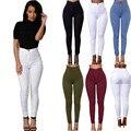 2017 Lápis Calças de Ganga para Mulheres Sólidos Casual Stretchy Denim Sexy Jeans Skinny De Cintura Alta Calças Lápis Além de Calças Tamanho 5 cores
