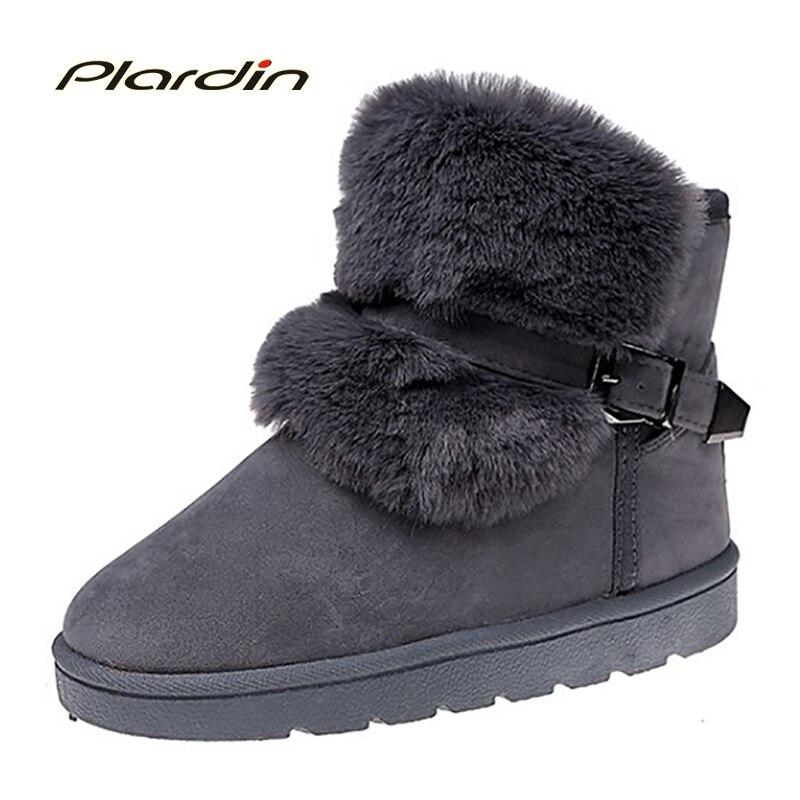 plardin New Winter warm snow boots short Fur Buckle Strap boots soft Comfortable women 's shoes cotton cashmere Woman boots