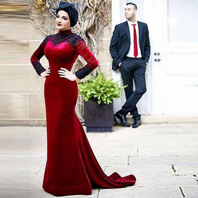 ab9fcb8f314 Muslim Evening Dress Mermaid Burgundy Velvet Modest Long Sleeve High Neck  Hijab Evening Formal Dresses vestido branco Customized