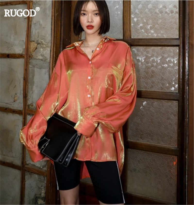 RUGOD 2019 spring summer Beautiful and shiny texture, stylish temperament lapel long-sleeved blouse casual lady