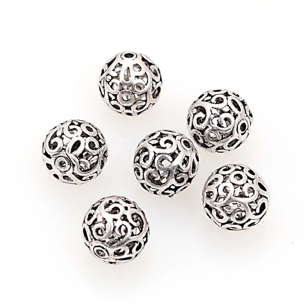20Pcs 11mm Filigree Hollow Round Metal Cast Brass Antique Design Beads For Diy Handmade Jewelry Making Findings Accessories