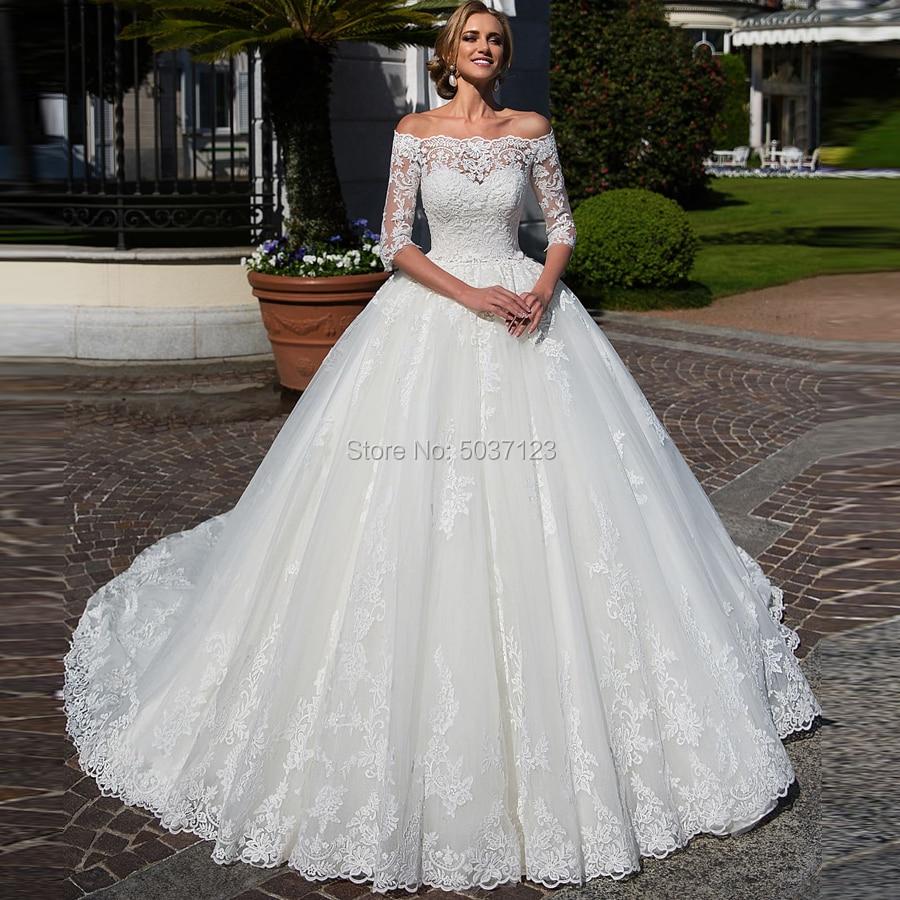 Half Sleeves Wedding Dresses Ball Gown Off The Shoulder Lace Appliques Bridal Wedding Gown Vestido De Noiva Robe De Mariée