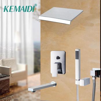 KEMAIDI łazienka prysznic zestaw wanna opady deszczu prysznic panel główny mikser montowany na ścianie wiadomość prysznic zestaw z prysznicem strony prysznic do montażu na ścianie tanie i dobre opinie CN (pochodzenie) NONE Współczesna Stała typu wsparcie Chrome Pojedynczy uchwyt podwójna kontrola ceramic Polerowane