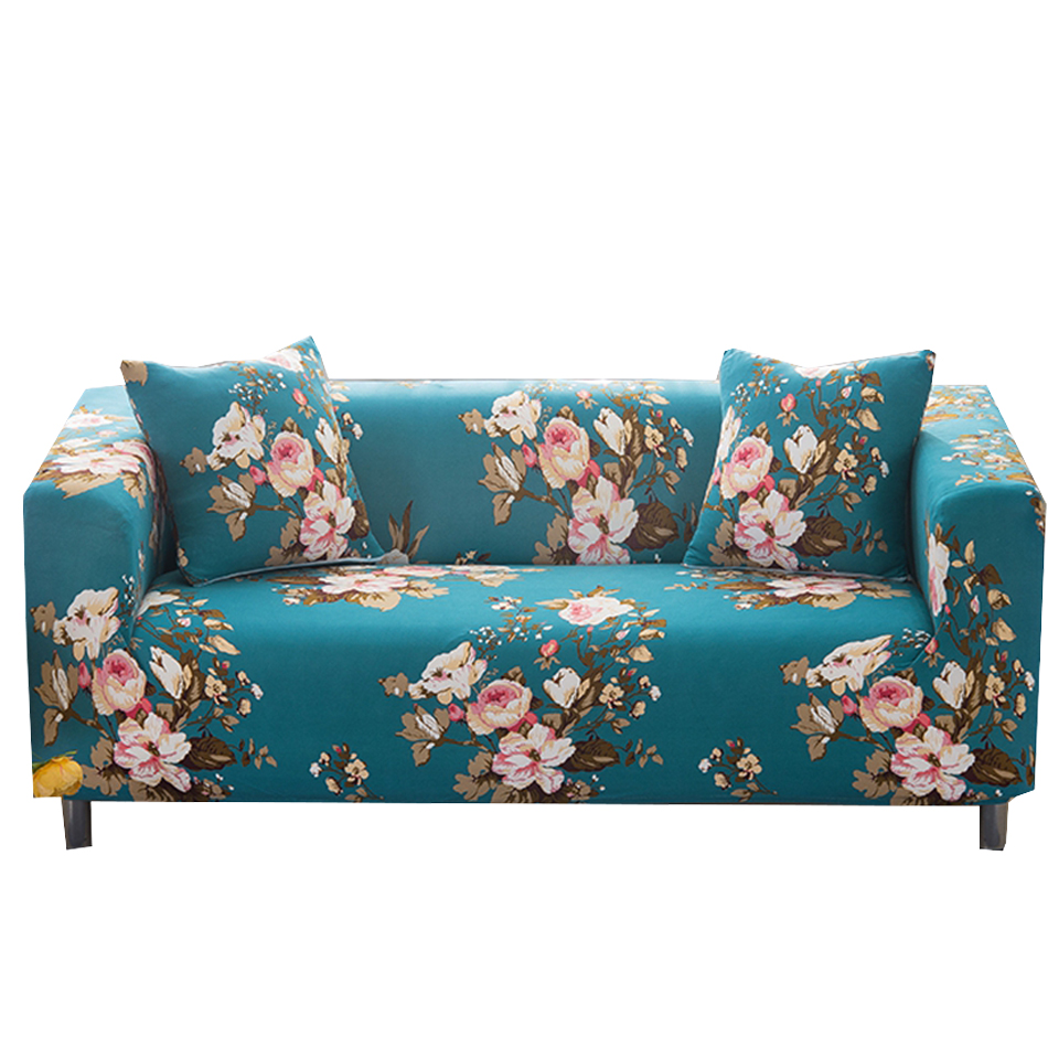 Blue Flowers Couch Sofa Covers For Living Room Universal