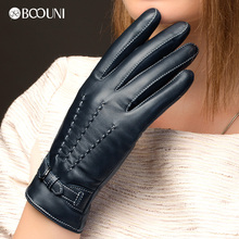 BOOUNI Genuine Leather Gloves Fashion Women Sheepskin Glove Autumn Winter Thermal Velvet Lining Driving NW707