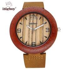 IBigboy Hombres Relojes Reloj de Mujer de Marca de Lujo De Madera Especializados Zebrawood Sándalo Natural de Pulsera de Cuarzo de Cuero de Moda