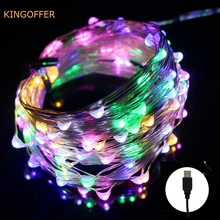 string led lights 10m 33ft 100leds 5v usb powered outdoor warm whitergb silver wire christmas festival wedding party decoration - Usb Powered Christmas Lights